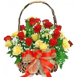 Red N Yellow Rose Basket