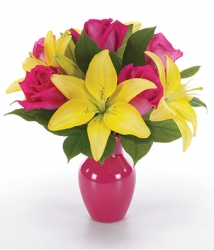 Yellow N Pink Flower Arrangement