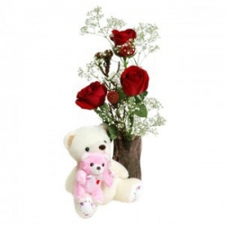 3 Red Roses In Vase N Teddy