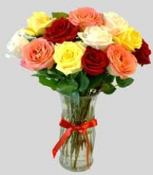 12 Multicolor Roses Flower Vase Arrangement