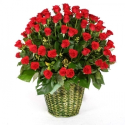 100 Red Roses Basket Arrangement