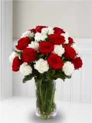 Red Roses N White Carnation Vase Arrangement