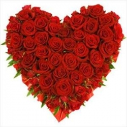 40 Red Roses Heart Shape Arrangement