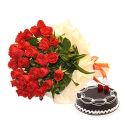 Yummy Cake N Flower Combo