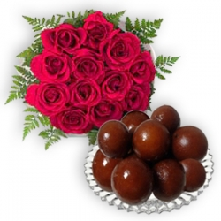 Gulab Jamun N Red Rose Bunch
