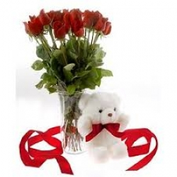 Teddy And Red Rose Combo