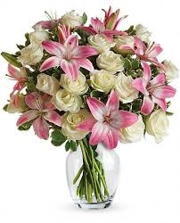 White Rose And  Pink Lilies Vase Arrangement