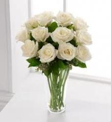 White Rose Vase Arrangement