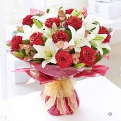 Red Roses N White Lilies
