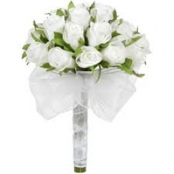 12 White Roses Hand Tied Bunch