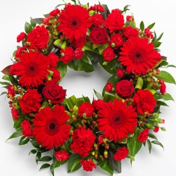 Red Roses And Gerbera Wreath