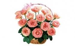 15 Pink Roses Basket Arrangement