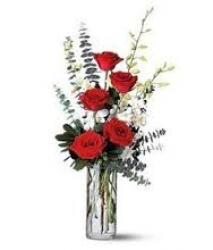 5 Red Roses In Glass Vase