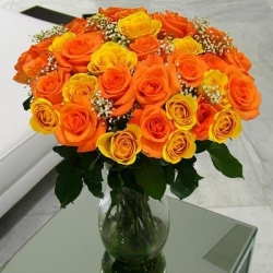 Yellow And Orange Vase Arrangement