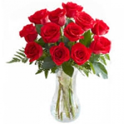 12 Red Rose In Glass Vase