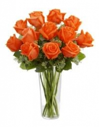 12 Orange Roses Vase Arrangment