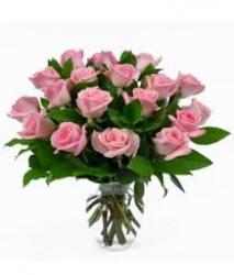 12 Pink Roses Vase Arrangement