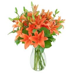 Orange Lilies Vase Arrangement