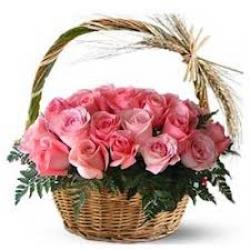 24 Pink Roses Basket