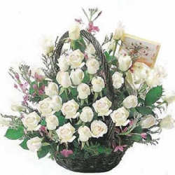 12 White Rose  Basket