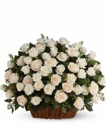 24 White Roses Basket