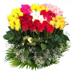 100 Mixed Color Roses Arrangement