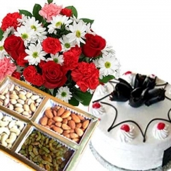 Red And White  Flowers Hamper