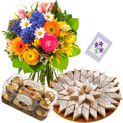Kaju Barfi With Flowers