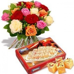 Soan Papri And Flower Hamper