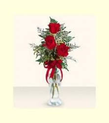 Fifteen Roses In Glass Vase
