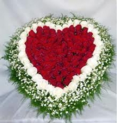 Heart Shape Red  And  White Roses Basket