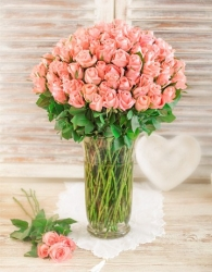 50 Pink Roses In A Tall Glass Vase