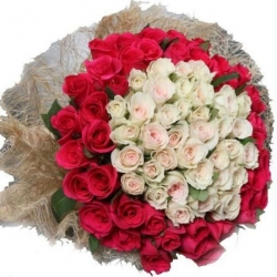 99 Red N White Rose Bouquet