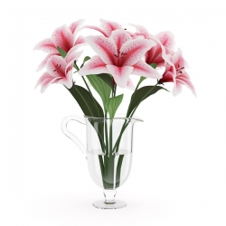 3 Pink Lilies In Vase