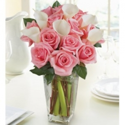 Calla Lilies N Pink Roses