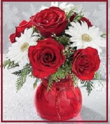 Red Roses N White Gerbera In A  Glass Vase