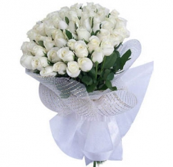 50 White Roses Bouquet